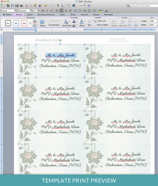 Watercolor Flowers Address Label Template \u2013 Download  Print