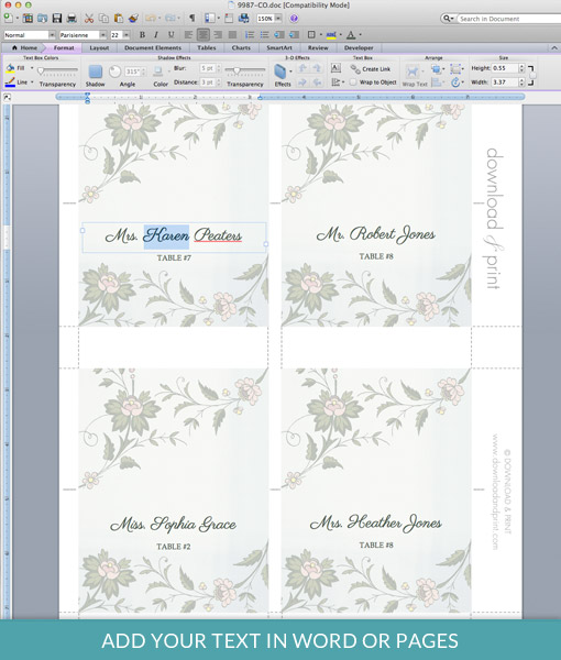 Watercolor Flowers Place Card Template \u2013 Download  Print - wedding place cards template free