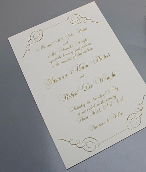 Gold Scroll Wedding Invitation \u2013 Download  Print