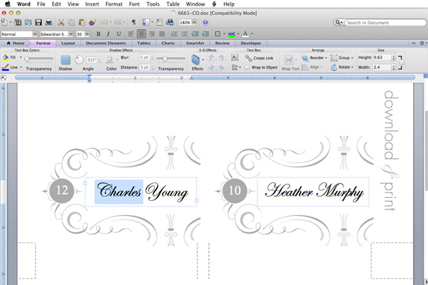 Elegant Place Card Template \u2013 Download  Print - wedding place cards template free