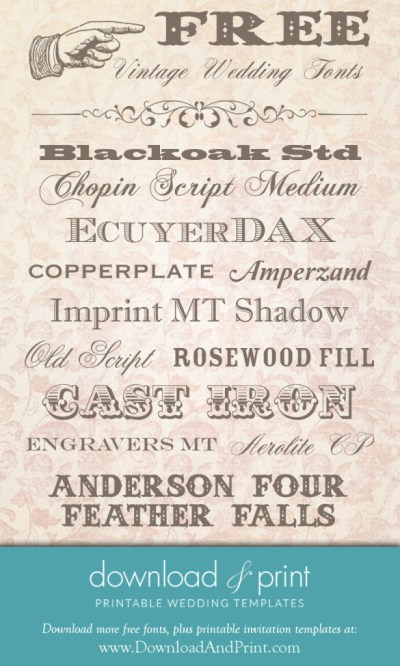 Free Vintage Wedding Fonts: Download and Print
