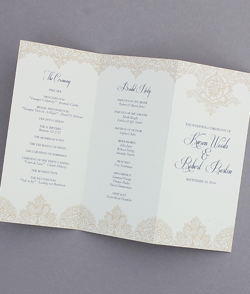 Pearls and Lace Trifold Wedding Program \u2013 Download  Print - wedding program