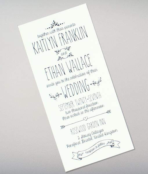Doodle Love Tall Wedding Invitation Download Print