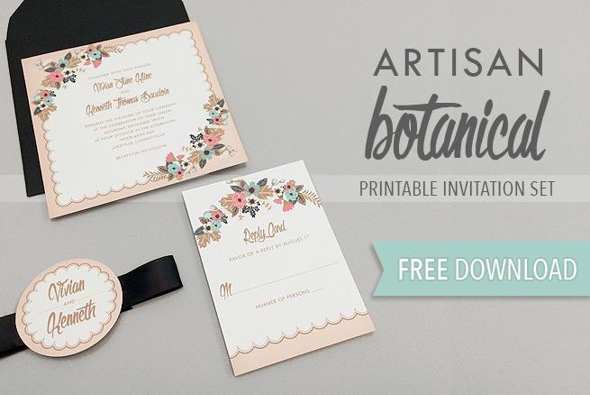Artisan Botanical Free Printable Wedding Invitation - free downloadable wedding invitation templates