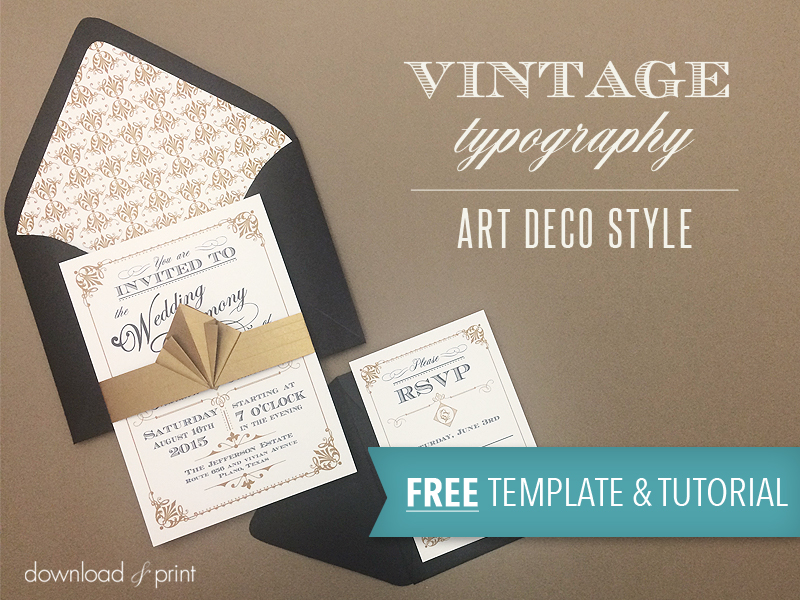 Free Template Vintage Wedding Invitation with Art Deco Band - free printable wedding rsvp cards