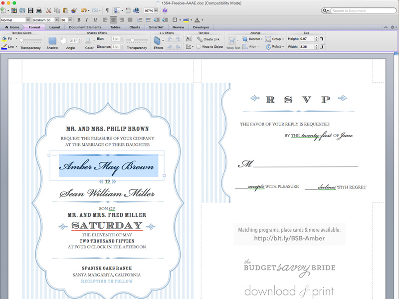 Free Pin Stripe Wedding Invitation Template and DIY Pocket - free printable wedding invitation templates for word