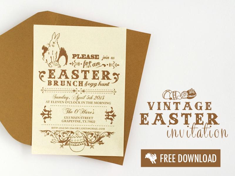 Free Vintage Easter Printable Invitation - free invite template download