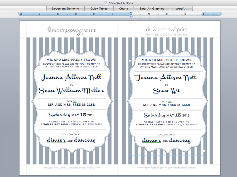 Simple Trick to Add Metallic Accents to Wedding Invitations - how to make invitations with microsoft word