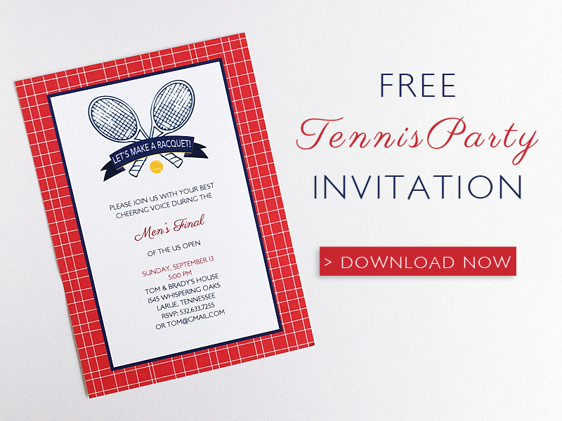 Free Tennis Themed Party Invitation Template - free party invitation templates