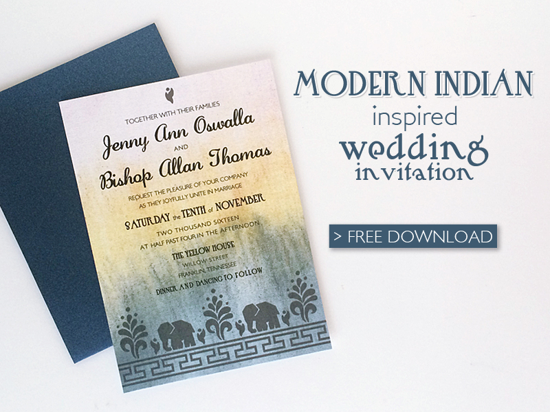 Free DIY Modern Indian Wedding InvitationDownload  Print - free downloadable wedding invitation templates