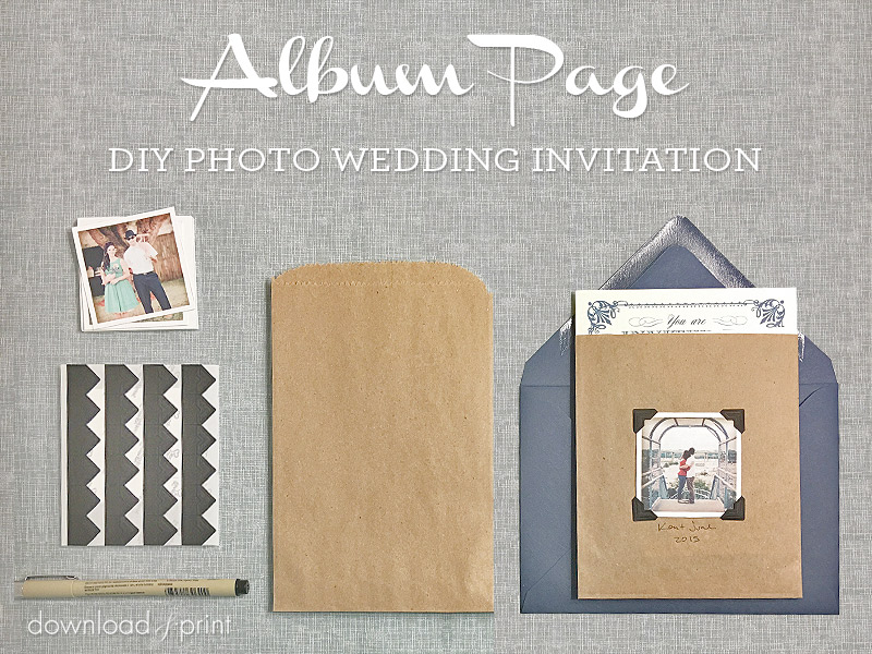 Album style DIY Photo Wedding Invitation