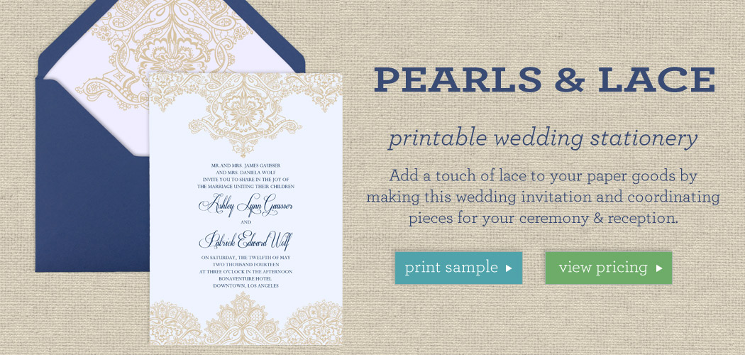 Pearls  Lace - Printable Wedding Template Collection - wedding template