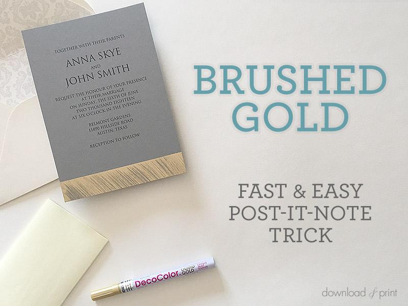Brushed Gold DIY Wedding Invitation Free Printable