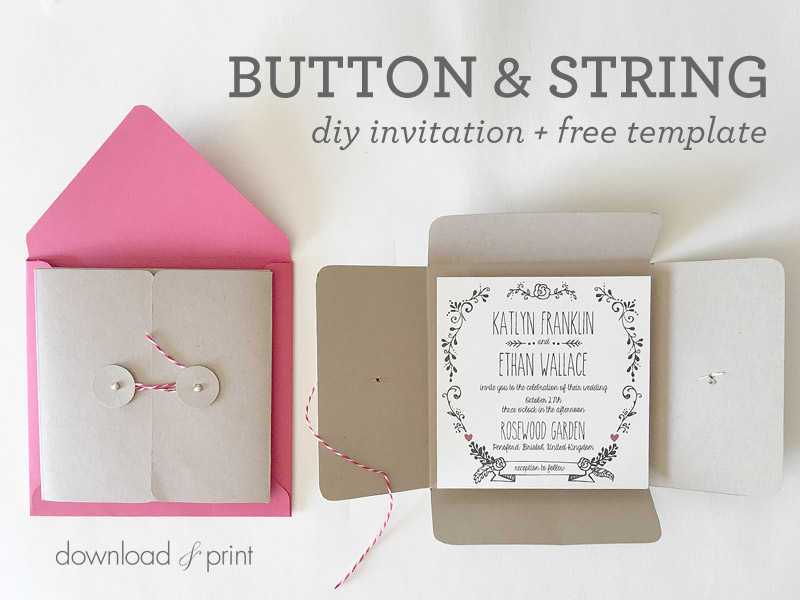 DIY Square Wedding Invitation Pocket Free Template