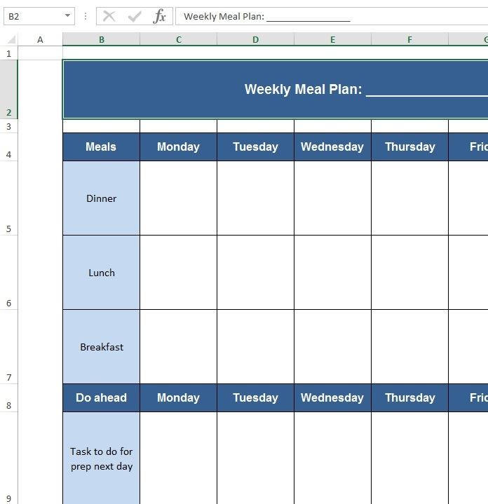 Download free Excel examples - Downloadexceltemplate - meal plan excel template