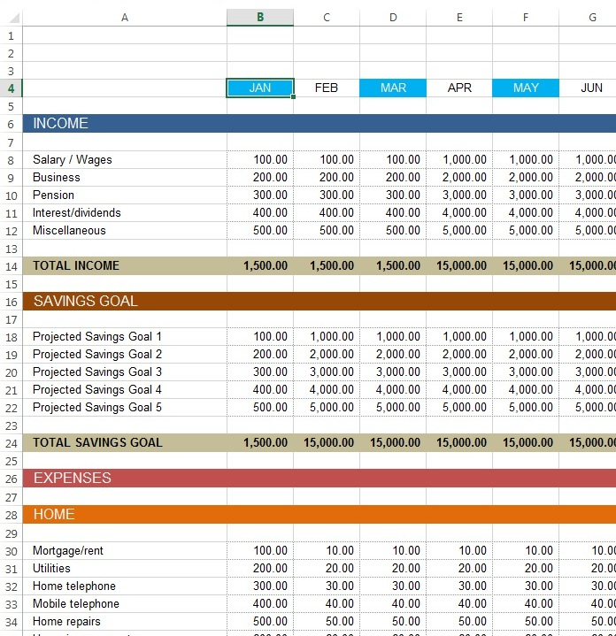 Download free Excel examples - Downloadexceltemplate - example personal budget