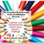 Organize your Homeschool in 20(ish) days January Challenge–Starts January 4–Enter to win Organizing Your Life from @DKCanada