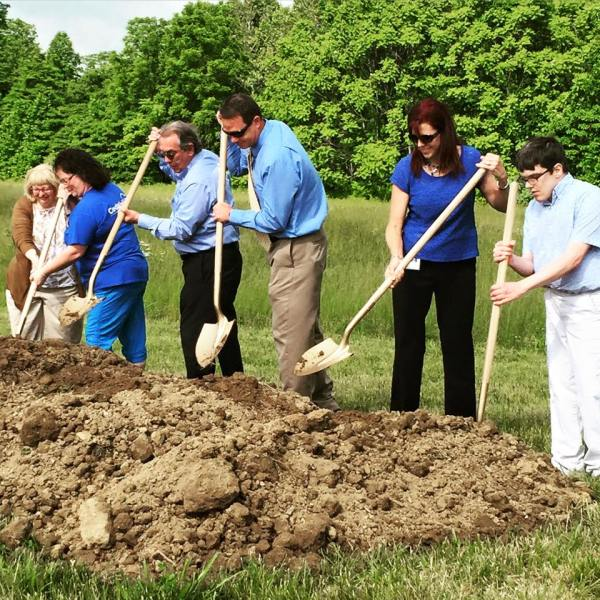 Cedar Lake staff and residents take part in the groundbreaking ceremony
