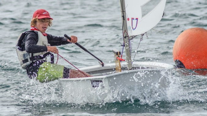 Jonas Barrett in Sharky is around the top of the Open fleet at the Musto SA Opti States in Wallaroo. Photos: Down Under Sail
