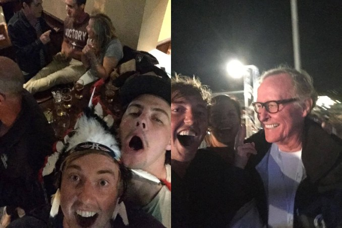 Left: Sharpie lads wearing Comanche headdresses; right: taking a selfie with Comanche owner Jim Clark.