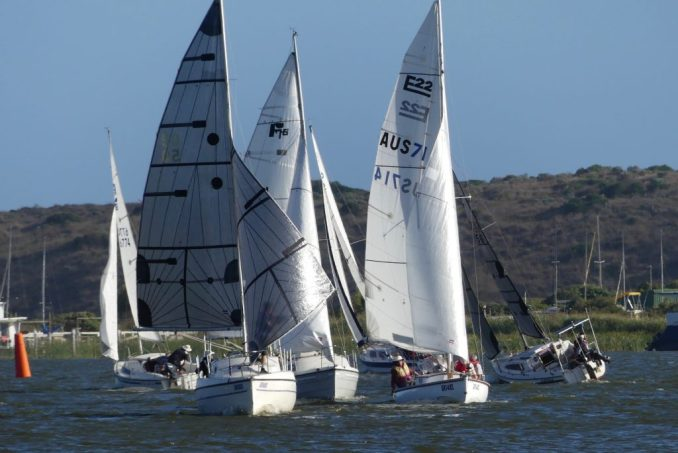 No spinnakers were allowed in tonight's tune-up race. Photos: Chris Caffin