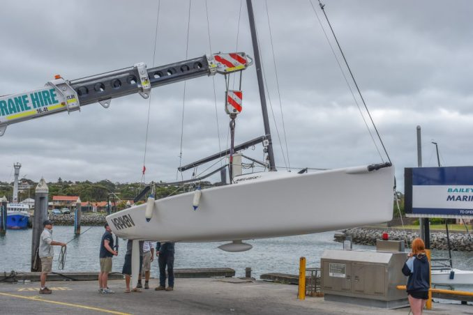 Boats were craned in at the Port Lincoln marina today.