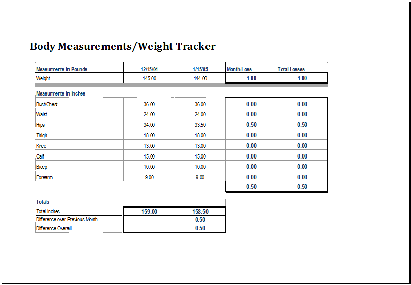 body measurement tracker excel