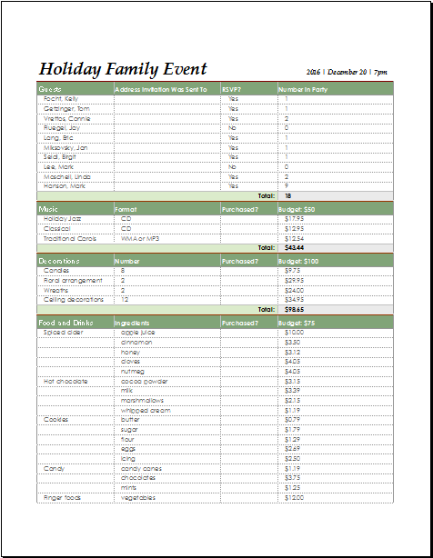 Event Planning Checklist Template Free Microsoft Word Holiday Family Event Checklist For Excel Document Hub