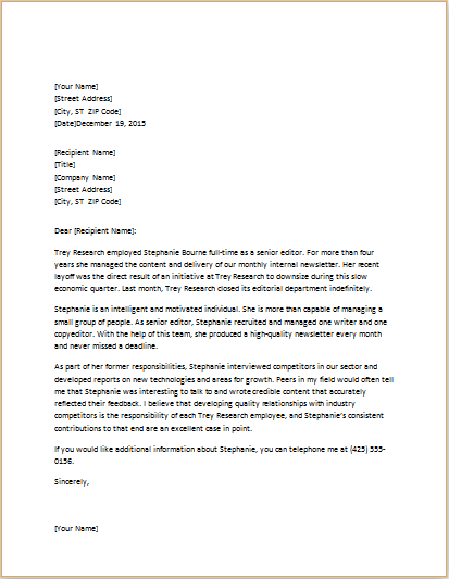 Student Reference Letter Templates – Reference Letter Layout