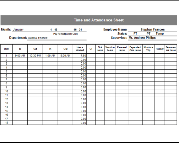 Timesheet Template Free Simple Time Sheet For Excel Time And Attendance Sheet Template Document Hub