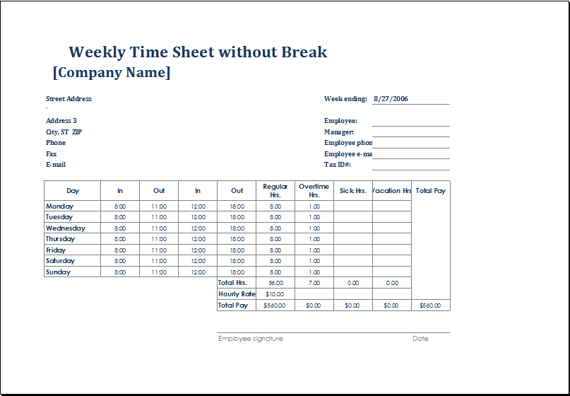 weekly time sheets template