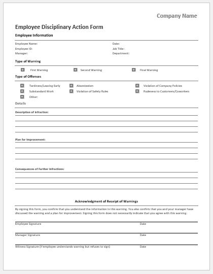 Disciplinary Action Forms Templates for MS Word Document Hub