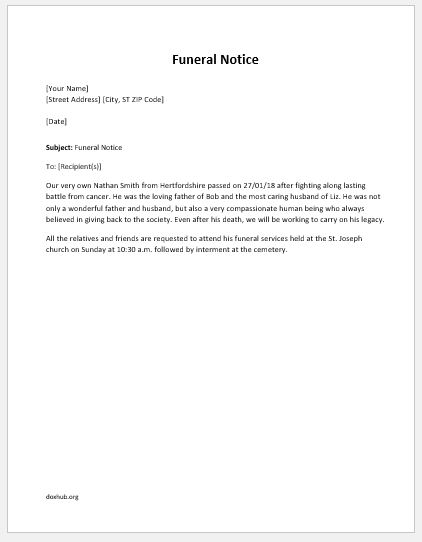 Funeral Notice Template for MS Word Document Hub - Funeral Announcements Template