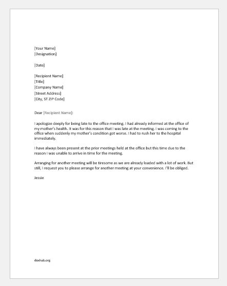 Apology Letter for Coming Late in Office Meeting Document Hub