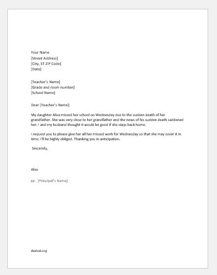 Excuse Letters for Child\u0027s Absence from School Document Hub