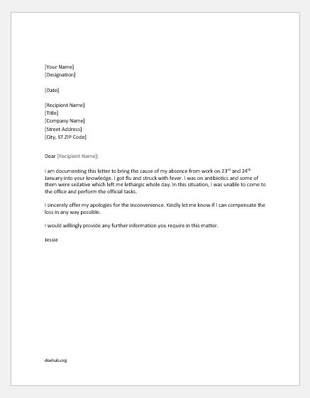Medical Excuse Letters for Work in MS Word Format Document Hub