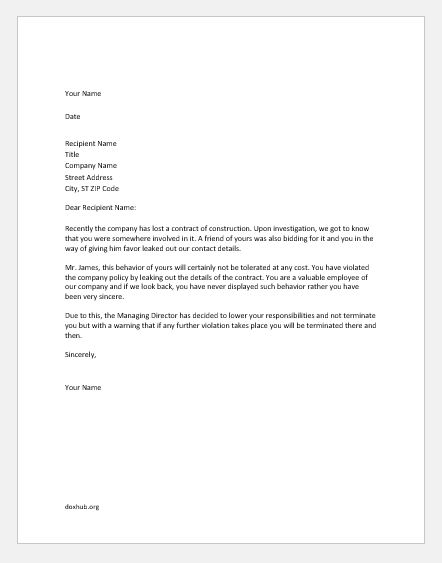 Warning Letter for Breach of Confidentiality Document Hub