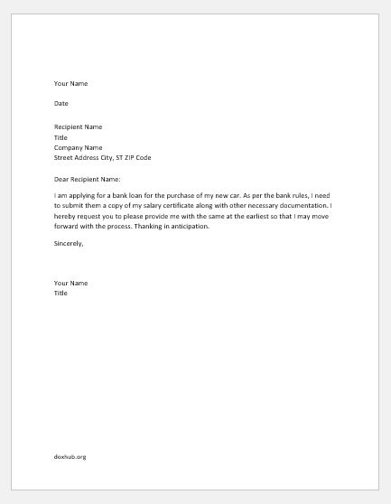 Salary Certificate Request Letters Samples Document Hub