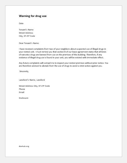 Warning Letters to Tenant for Various Reasons Document Hub
