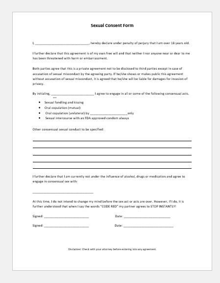 Sexual Consent Form Sample Template for MS Word Document Hub