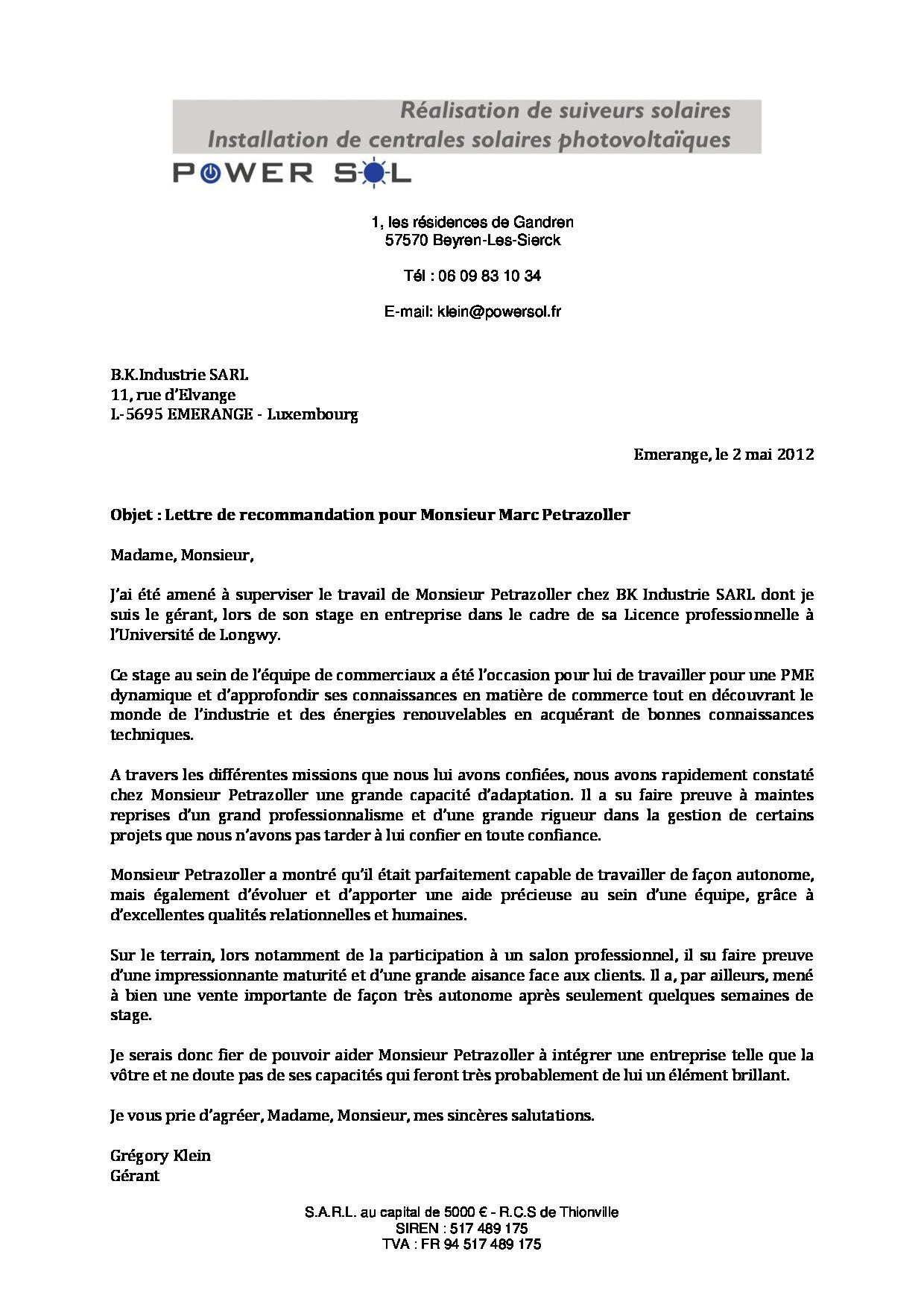 lettre de recommandation sur cv
