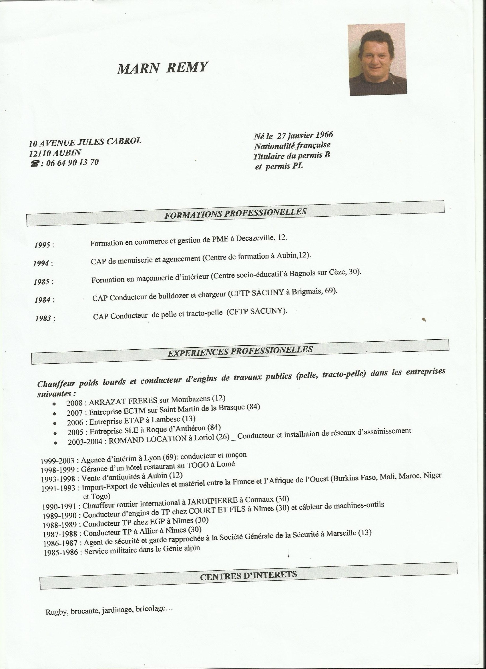 exemple de cv chef de chantier tp