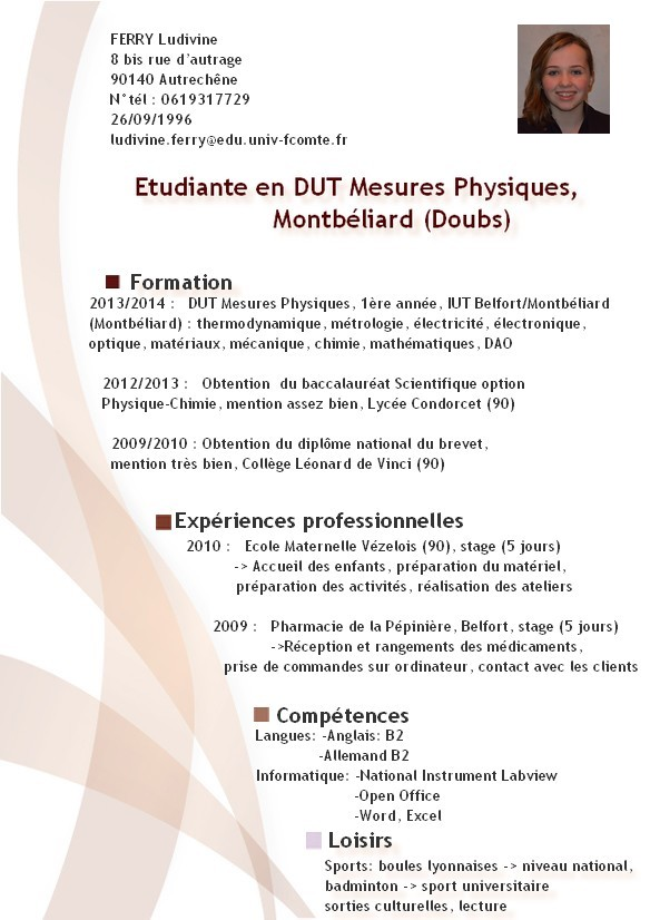 cv ingenieur chimie informatique