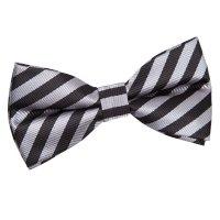 Men's Thin Stripe Black & Grey Pre-Tied Bow Tie