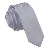 Men's Paisley Silver Skinny Tie