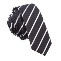 New DQT Single Stripe Skinny Tie - Black & White | eBay