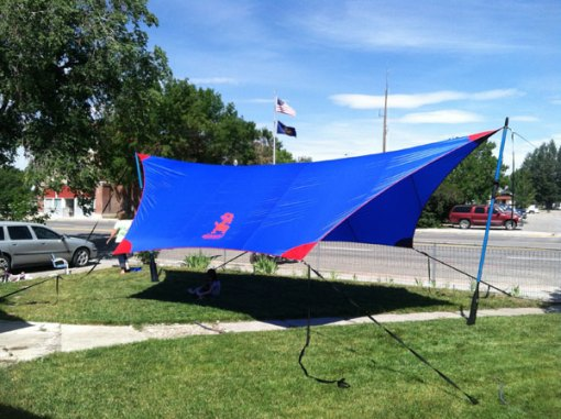 Blue and Red Tarp