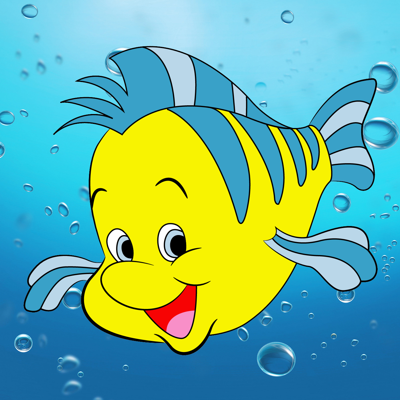 how to draw flounder from the little mermaid draw central