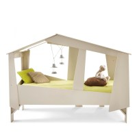 Cadre de lit cabane enfant en bois avec sommier - Drawer