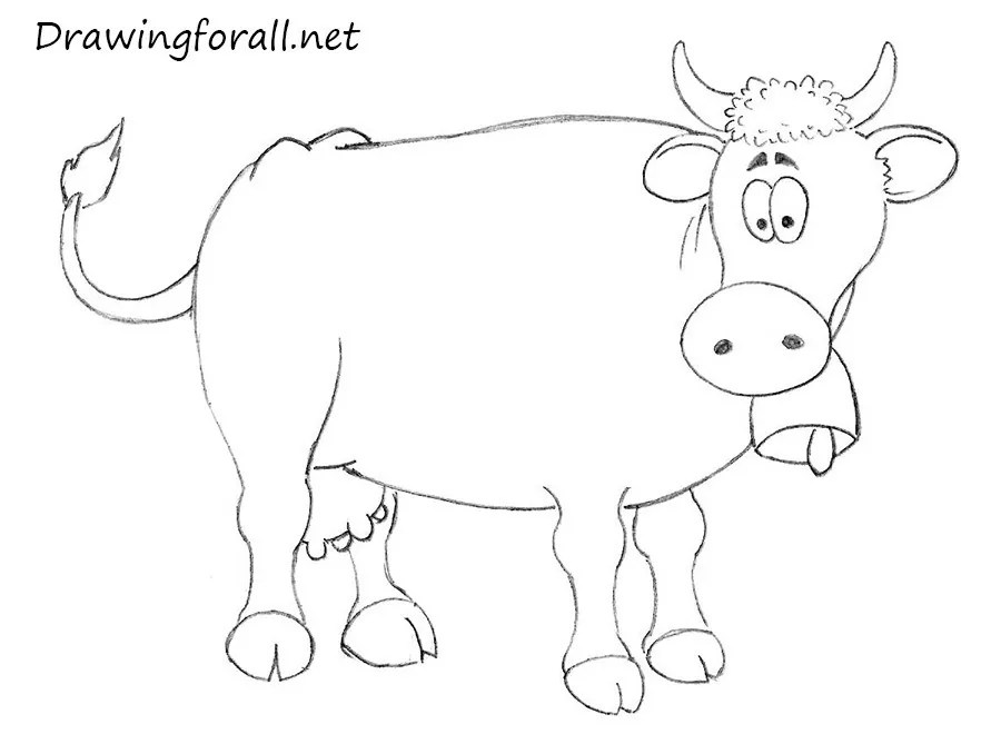 How to Draw a Cow for Kids Drawingforallnet